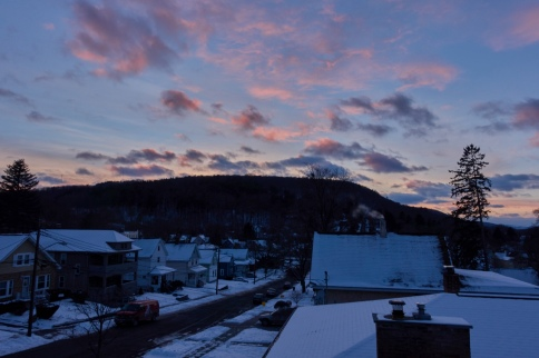 winter in binghamton with pink and blue skies