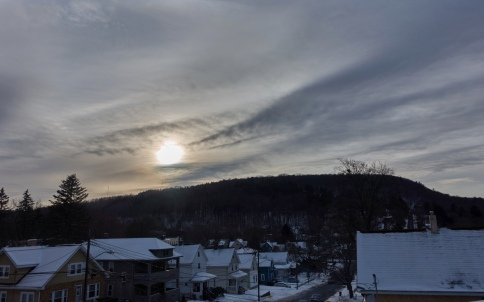 winter in binghamton with sun